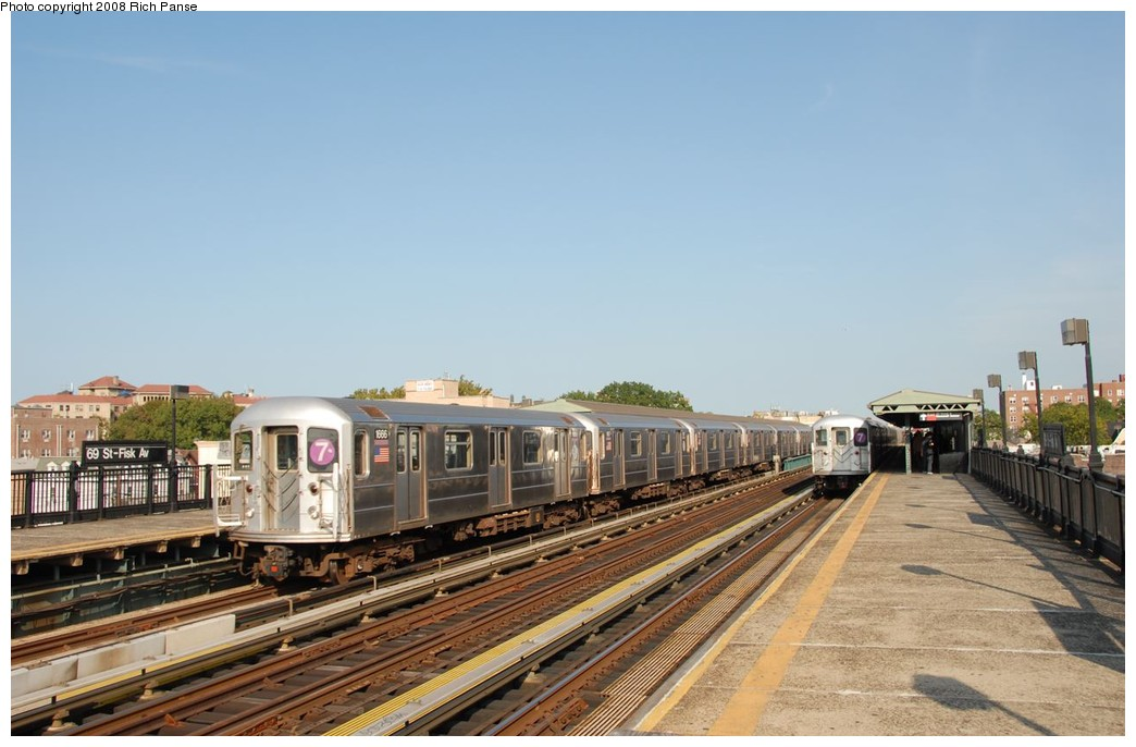 (158k, 1044x686)<br><b>Country:</b> United States<br><b>City:</b> New York<br><b>System:</b> New York City Transit<br><b>Line:</b> IRT Flushing Line<br><b>Location:</b> 69th Street/Fisk Avenue <br><b>Route:</b> 7<br><b>Car:</b> R-62A (Bombardier, 1984-1987)  1666 <br><b>Photo by:</b> Richard Panse<br><b>Date:</b> 9/24/2008<br><b>Viewed (this week/total):</b> 0 / 1338
