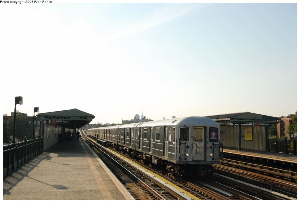 (118k, 1044x706)<br><b>Country:</b> United States<br><b>City:</b> New York<br><b>System:</b> New York City Transit<br><b>Line:</b> IRT Flushing Line<br><b>Location:</b> 69th Street/Fisk Avenue <br><b>Route:</b> 7<br><b>Car:</b> R-62A (Bombardier, 1984-1987)  2147 <br><b>Photo by:</b> Richard Panse<br><b>Date:</b> 9/24/2008<br><b>Viewed (this week/total):</b> 2 / 1353