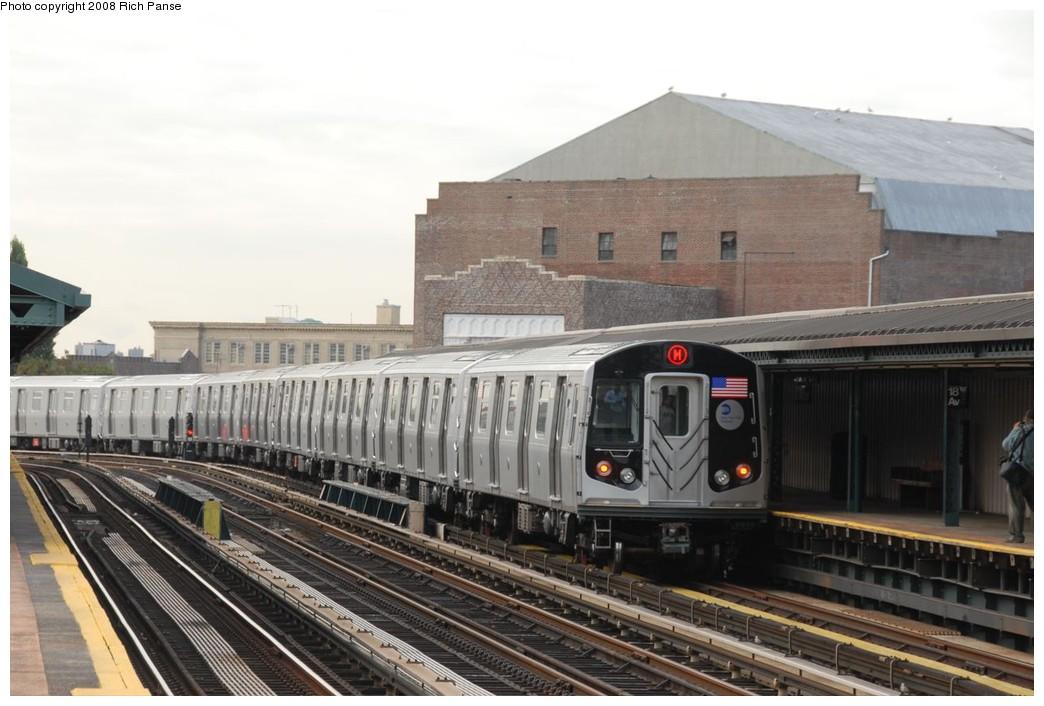 (198k, 1044x706)<br><b>Country:</b> United States<br><b>City:</b> New York<br><b>System:</b> New York City Transit<br><b>Line:</b> BMT West End Line<br><b>Location:</b> 18th Avenue <br><b>Route:</b> M<br><b>Car:</b> R-160A-1 (Alstom, 2005-2008, 4 car sets)  8537 <br><b>Photo by:</b> Richard Panse<br><b>Date:</b> 9/30/2008<br><b>Viewed (this week/total):</b> 0 / 1567