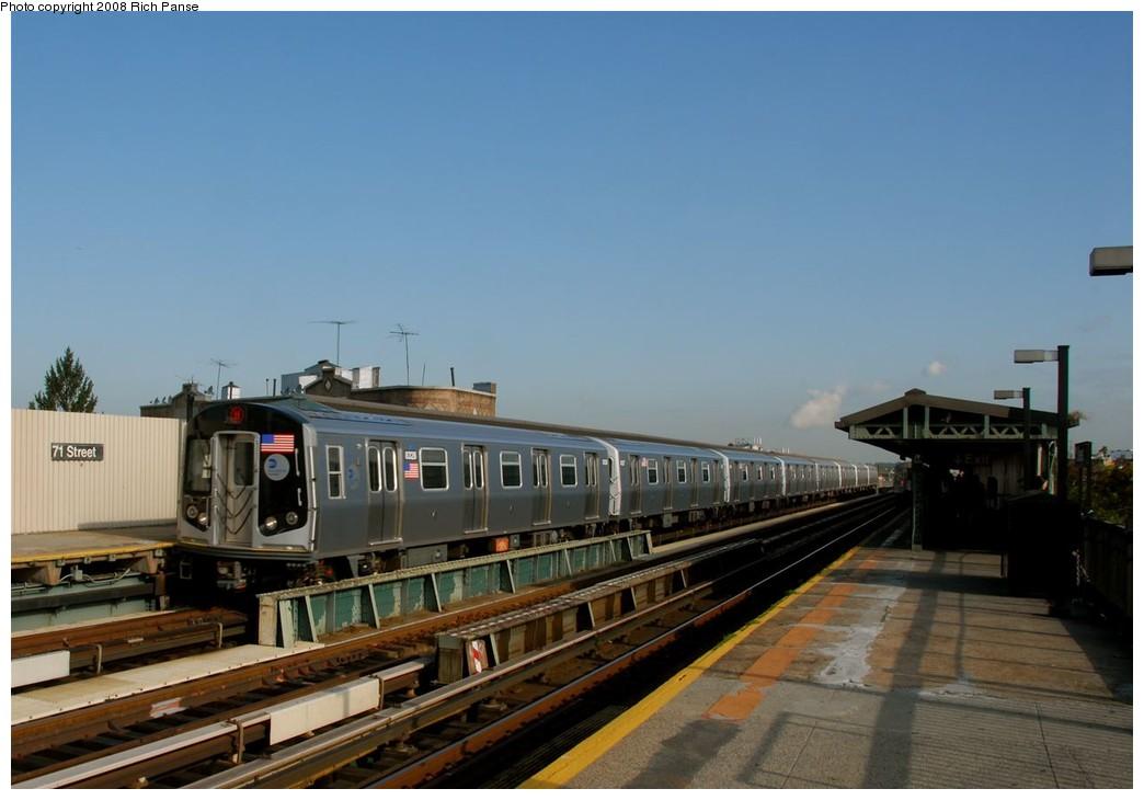(139k, 1044x730)<br><b>Country:</b> United States<br><b>City:</b> New York<br><b>System:</b> New York City Transit<br><b>Line:</b> BMT West End Line<br><b>Location:</b> 71st Street <br><b>Route:</b> M<br><b>Car:</b> R-160A-1 (Alstom, 2005-2008, 4 car sets)  8328 <br><b>Photo by:</b> Richard Panse<br><b>Date:</b> 9/30/2008<br><b>Viewed (this week/total):</b> 3 / 1137