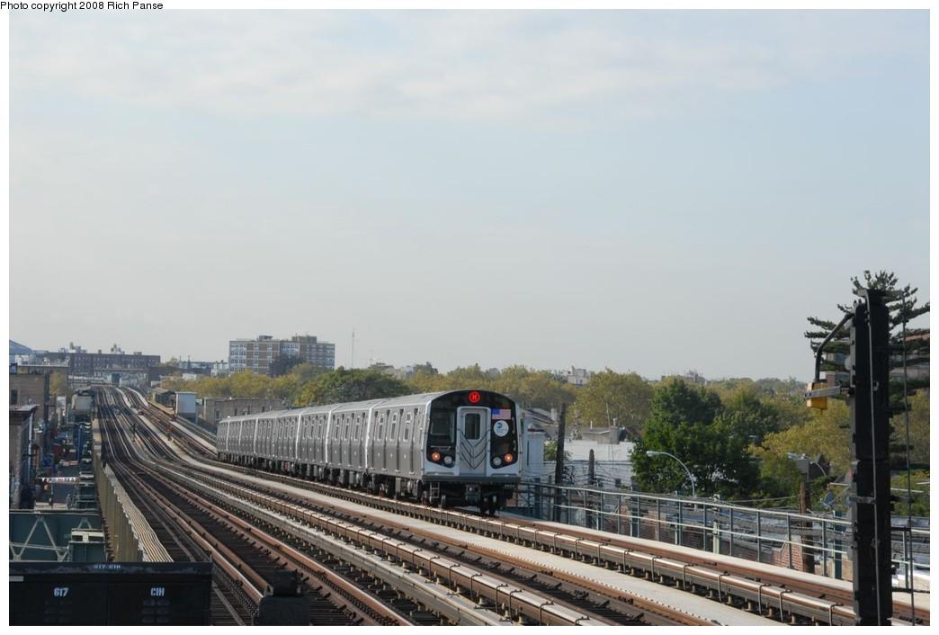 (173k, 1044x706)<br><b>Country:</b> United States<br><b>City:</b> New York<br><b>System:</b> New York City Transit<br><b>Line:</b> BMT West End Line<br><b>Location:</b> 71st Street <br><b>Route:</b> M<br><b>Car:</b> R-160A-1 (Alstom, 2005-2008, 4 car sets)   <br><b>Photo by:</b> Richard Panse<br><b>Date:</b> 9/30/2008<br><b>Viewed (this week/total):</b> 4 / 1350