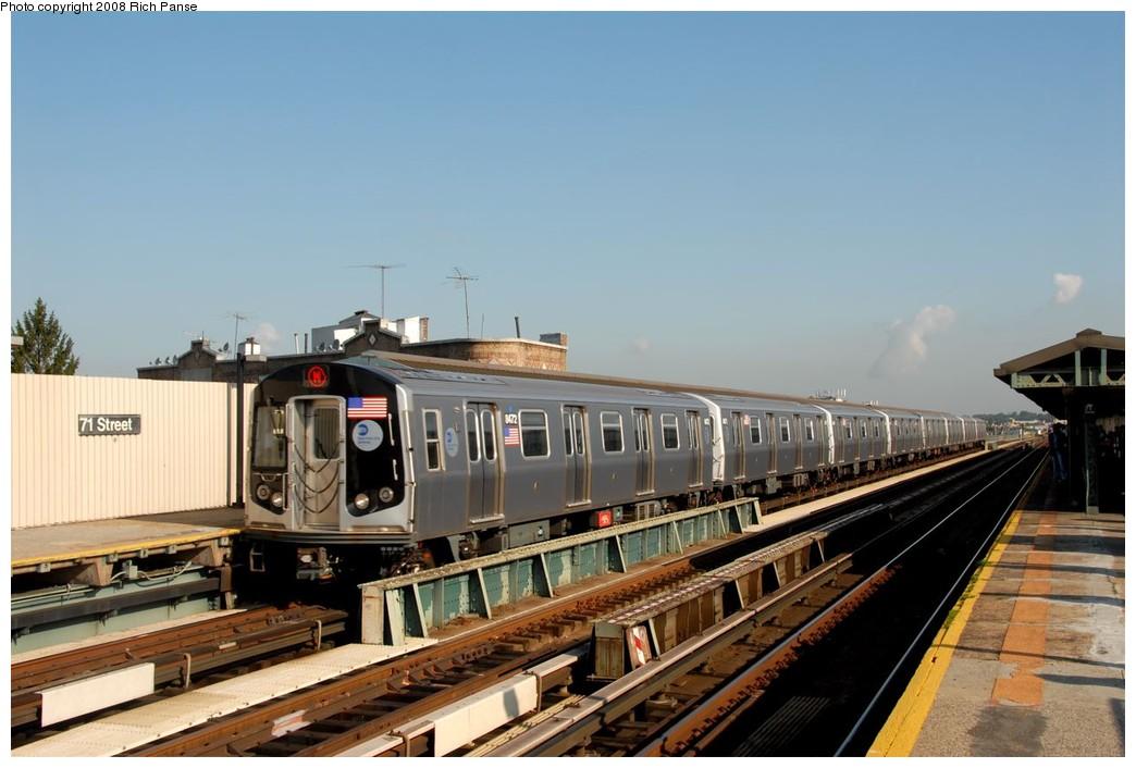 (158k, 1044x706)<br><b>Country:</b> United States<br><b>City:</b> New York<br><b>System:</b> New York City Transit<br><b>Line:</b> BMT West End Line<br><b>Location:</b> 71st Street <br><b>Route:</b> M<br><b>Car:</b> R-160A-1 (Alstom, 2005-2008, 4 car sets)  8472 <br><b>Photo by:</b> Richard Panse<br><b>Date:</b> 9/30/2008<br><b>Viewed (this week/total):</b> 0 / 1063