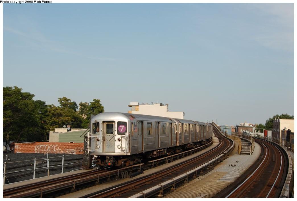 (140k, 1044x706)<br><b>Country:</b> United States<br><b>City:</b> New York<br><b>System:</b> New York City Transit<br><b>Line:</b> IRT Flushing Line<br><b>Location:</b> 103rd Street/Corona Plaza <br><b>Route:</b> 7<br><b>Car:</b> R-62A (Bombardier, 1984-1987)  1701 <br><b>Photo by:</b> Richard Panse<br><b>Date:</b> 9/24/2008<br><b>Viewed (this week/total):</b> 3 / 1292