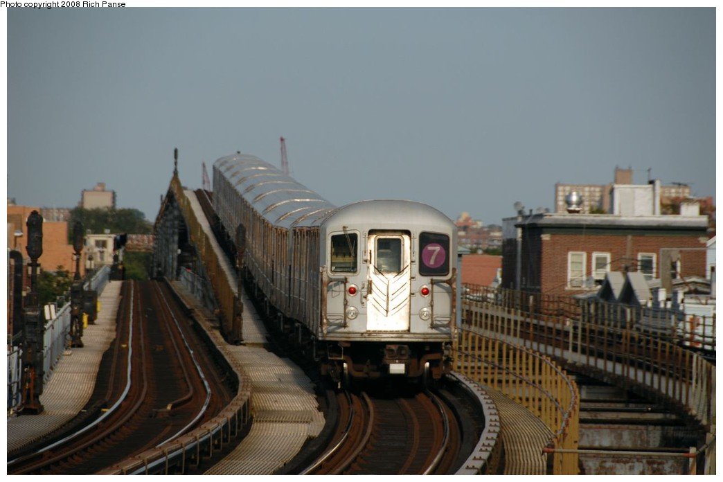(134k, 1044x696)<br><b>Country:</b> United States<br><b>City:</b> New York<br><b>System:</b> New York City Transit<br><b>Line:</b> IRT Flushing Line<br><b>Location:</b> 103rd Street/Corona Plaza <br><b>Route:</b> 7<br><b>Car:</b> R-62A (Bombardier, 1984-1987)   <br><b>Photo by:</b> Richard Panse<br><b>Date:</b> 9/24/2008<br><b>Viewed (this week/total):</b> 0 / 1679