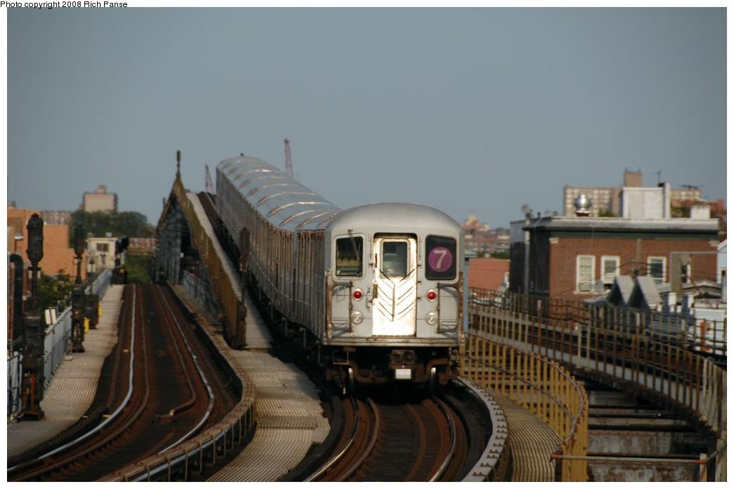 (134k, 1044x696)<br><b>Country:</b> United States<br><b>City:</b> New York<br><b>System:</b> New York City Transit<br><b>Line:</b> IRT Flushing Line<br><b>Location:</b> 103rd Street/Corona Plaza <br><b>Route:</b> 7<br><b>Car:</b> R-62A (Bombardier, 1984-1987)   <br><b>Photo by:</b> Richard Panse<br><b>Date:</b> 9/24/2008<br><b>Viewed (this week/total):</b> 0 / 1668