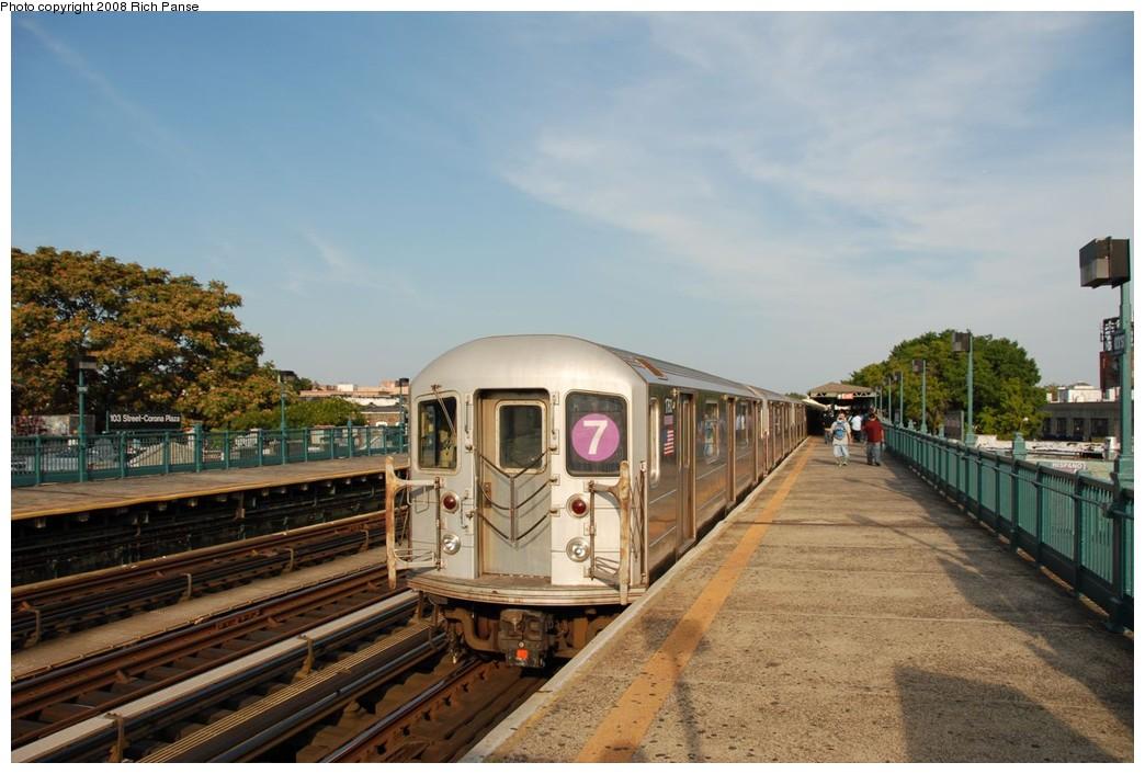 (201k, 1044x706)<br><b>Country:</b> United States<br><b>City:</b> New York<br><b>System:</b> New York City Transit<br><b>Line:</b> IRT Flushing Line<br><b>Location:</b> 103rd Street/Corona Plaza <br><b>Route:</b> 7<br><b>Car:</b> R-62A (Bombardier, 1984-1987)  1760 <br><b>Photo by:</b> Richard Panse<br><b>Date:</b> 9/24/2008<br><b>Viewed (this week/total):</b> 1 / 1325
