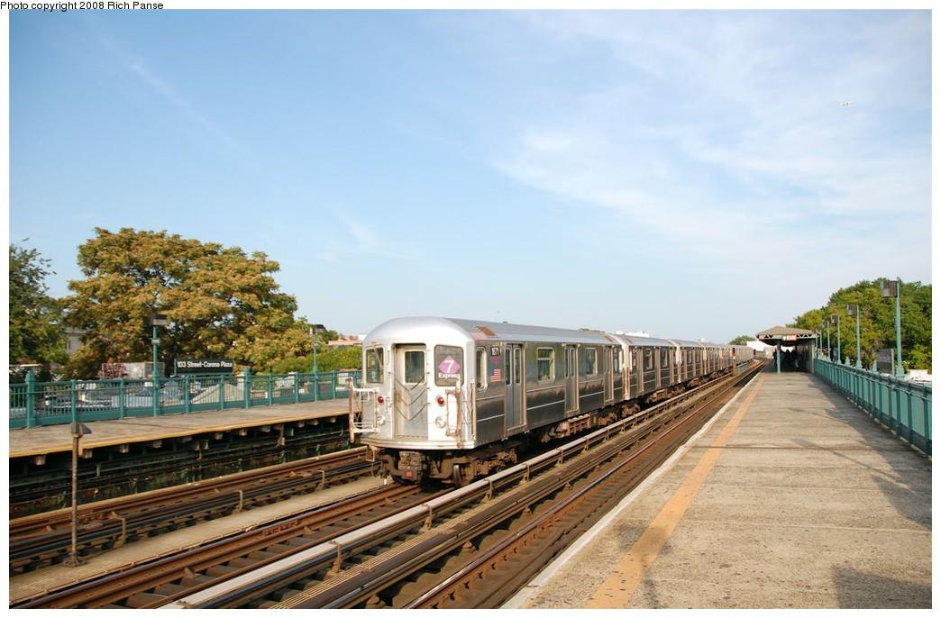 (181k, 1044x686)<br><b>Country:</b> United States<br><b>City:</b> New York<br><b>System:</b> New York City Transit<br><b>Line:</b> IRT Flushing Line<br><b>Location:</b> 103rd Street/Corona Plaza <br><b>Route:</b> 7<br><b>Car:</b> R-62A (Bombardier, 1984-1987)  1671 <br><b>Photo by:</b> Richard Panse<br><b>Date:</b> 9/24/2008<br><b>Viewed (this week/total):</b> 1 / 1396