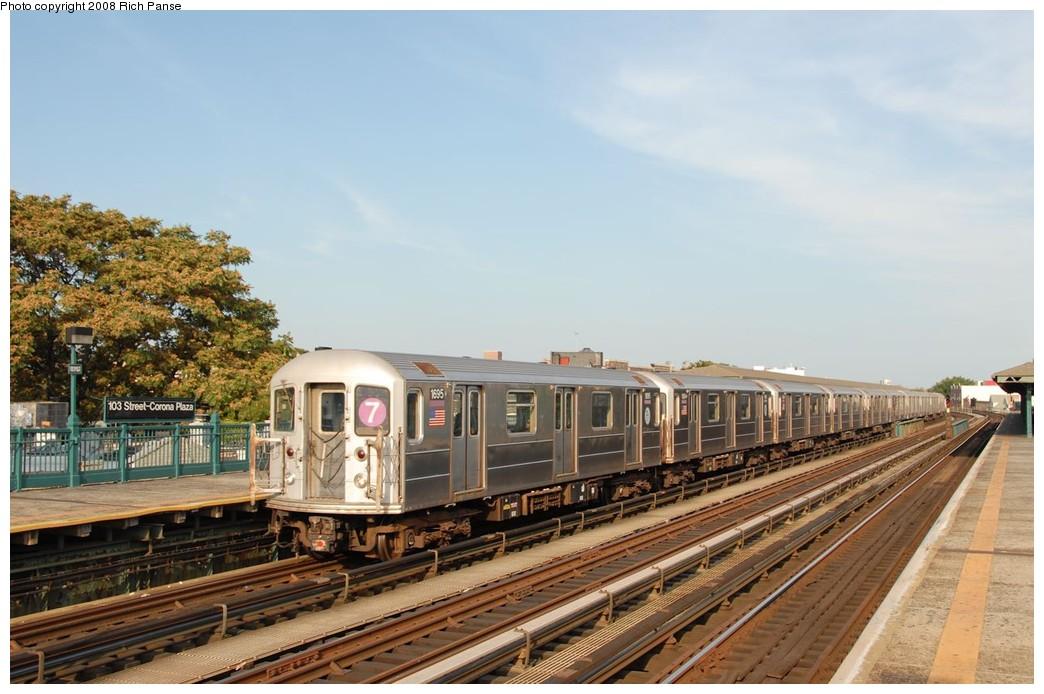 (177k, 1044x694)<br><b>Country:</b> United States<br><b>City:</b> New York<br><b>System:</b> New York City Transit<br><b>Line:</b> IRT Flushing Line<br><b>Location:</b> 103rd Street/Corona Plaza <br><b>Route:</b> 7<br><b>Car:</b> R-62A (Bombardier, 1984-1987)  1695 <br><b>Photo by:</b> Richard Panse<br><b>Date:</b> 9/24/2008<br><b>Viewed (this week/total):</b> 1 / 1323