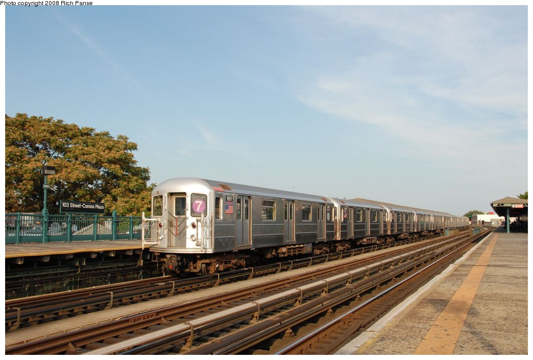(169k, 1044x706)<br><b>Country:</b> United States<br><b>City:</b> New York<br><b>System:</b> New York City Transit<br><b>Line:</b> IRT Flushing Line<br><b>Location:</b> 103rd Street/Corona Plaza <br><b>Route:</b> 7<br><b>Car:</b> R-62A (Bombardier, 1984-1987)  1661 <br><b>Photo by:</b> Richard Panse<br><b>Date:</b> 9/24/2008<br><b>Viewed (this week/total):</b> 0 / 1348
