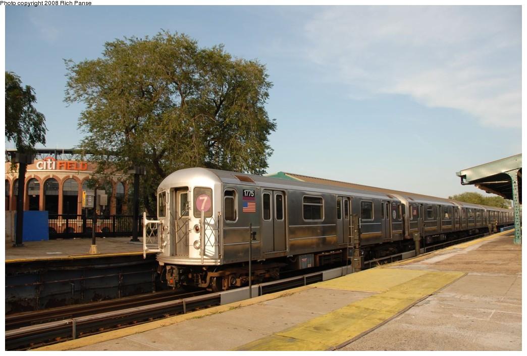 (204k, 1044x706)<br><b>Country:</b> United States<br><b>City:</b> New York<br><b>System:</b> New York City Transit<br><b>Line:</b> IRT Flushing Line<br><b>Location:</b> Willets Point/Mets (fmr. Shea Stadium) <br><b>Route:</b> 7<br><b>Car:</b> R-62A (Bombardier, 1984-1987)  1775 <br><b>Photo by:</b> Richard Panse<br><b>Date:</b> 9/24/2008<br><b>Notes:</b> View of new Citi Field.<br><b>Viewed (this week/total):</b> 4 / 1174