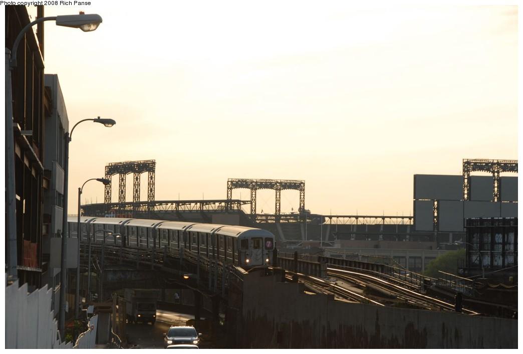 (143k, 1044x706)<br><b>Country:</b> United States<br><b>City:</b> New York<br><b>System:</b> New York City Transit<br><b>Line:</b> IRT Flushing Line<br><b>Location:</b> Main St. Tunnel Portal <br><b>Route:</b> 7<br><b>Car:</b> R-62A (Bombardier, 1984-1987)   <br><b>Photo by:</b> Richard Panse<br><b>Date:</b> 9/24/2008<br><b>Notes:</b> Entering tunnel to Main St. Flushing; view of new Citi Field.<br><b>Viewed (this week/total):</b> 4 / 2721