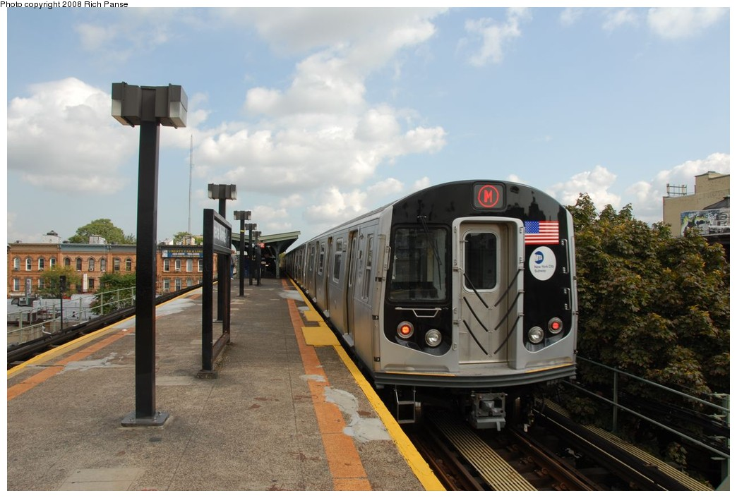 (196k, 1044x706)<br><b>Country:</b> United States<br><b>City:</b> New York<br><b>System:</b> New York City Transit<br><b>Line:</b> BMT Myrtle Avenue Line<br><b>Location:</b> Seneca Avenue <br><b>Route:</b> M<br><b>Car:</b> R-160A-1 (Alstom, 2005-2008, 4 car sets)  8573 <br><b>Photo by:</b> Richard Panse<br><b>Date:</b> 9/30/2008<br><b>Viewed (this week/total):</b> 1 / 1632