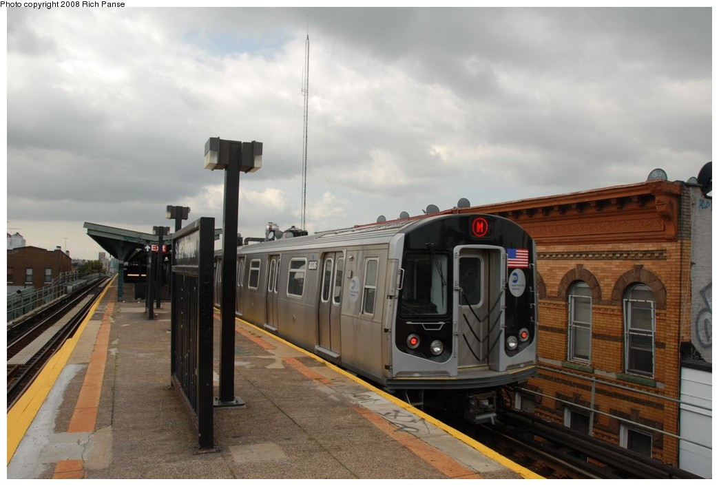 (177k, 1044x706)<br><b>Country:</b> United States<br><b>City:</b> New York<br><b>System:</b> New York City Transit<br><b>Line:</b> BMT Myrtle Avenue Line<br><b>Location:</b> Seneca Avenue <br><b>Route:</b> M<br><b>Car:</b> R-160A-1 (Alstom, 2005-2008, 4 car sets)  8336 <br><b>Photo by:</b> Richard Panse<br><b>Date:</b> 9/30/2008<br><b>Viewed (this week/total):</b> 0 / 1366
