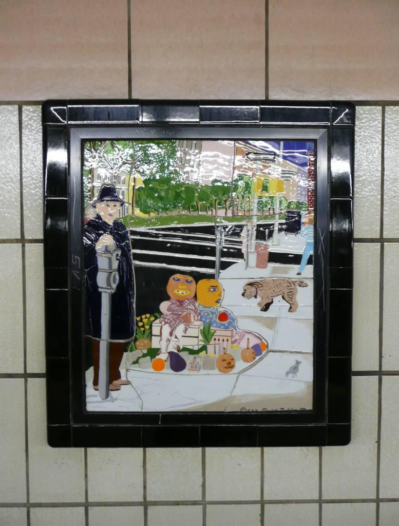 (115k, 777x1024)<br><b>Country:</b> United States<br><b>City:</b> New York<br><b>System:</b> New York City Transit<br><b>Line:</b> IRT West Side Line<br><b>Location:</b> 86th Street <br><b>Photo by:</b> Robbie Rosenfeld<br><b>Date:</b> 10/23/2008<br><b>Artwork:</b> <i>Westside Views</i>, Nitza Tufino (1989).<br><b>Viewed (this week/total):</b> 1 / 1097
