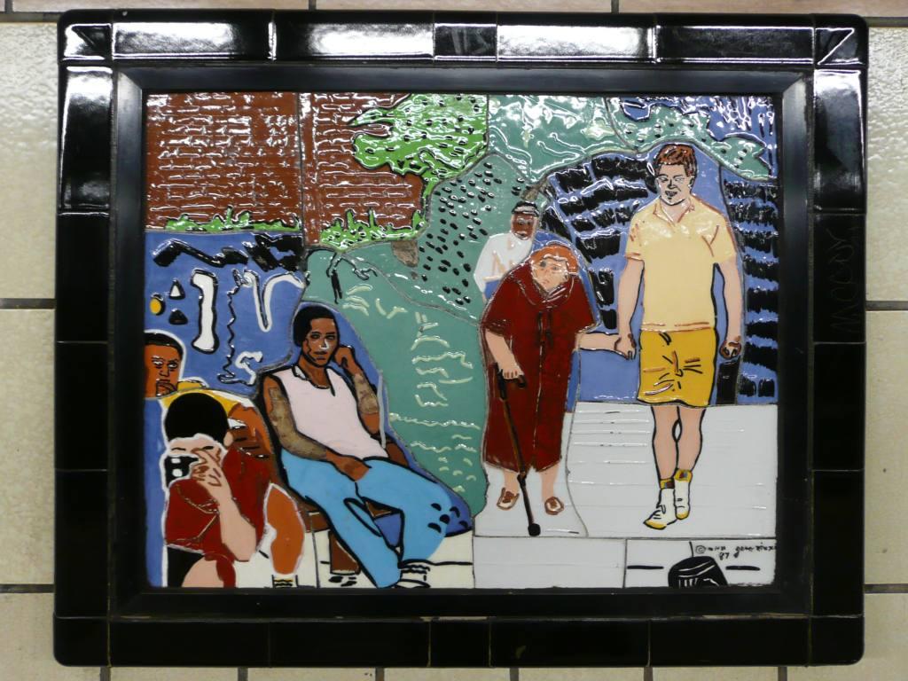 (131k, 1024x768)<br><b>Country:</b> United States<br><b>City:</b> New York<br><b>System:</b> New York City Transit<br><b>Line:</b> IRT West Side Line<br><b>Location:</b> 86th Street <br><b>Photo by:</b> Robbie Rosenfeld<br><b>Date:</b> 10/27/2008<br><b>Artwork:</b> <i>Westside Views</i>, Nitza Tufino (1989).<br><b>Viewed (this week/total):</b> 4 / 1404