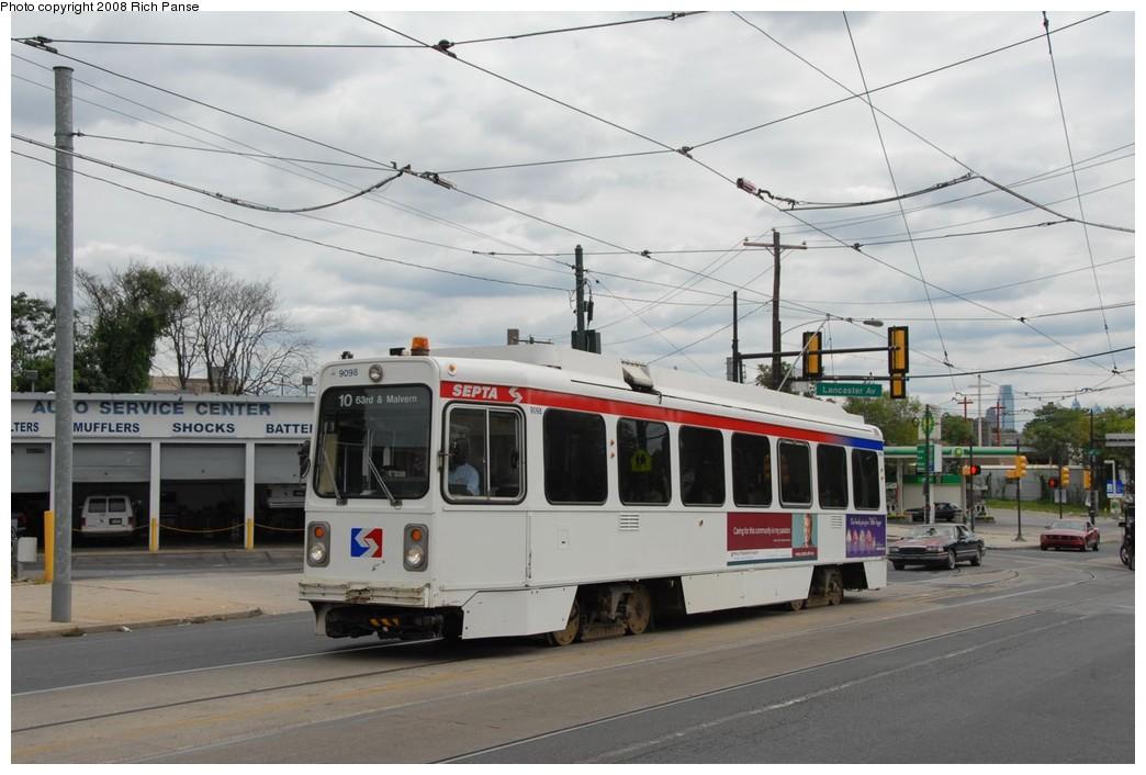 (192k, 1044x706)<br><b>Country:</b> United States<br><b>City:</b> Philadelphia, PA<br><b>System:</b> SEPTA (or Predecessor)<br><b>Line:</b> Rt. 10-Overbrook<br><b>Location:</b> Lancaster/Girard <br><b>Car:</b> SEPTA K Single-ended (Kawasaki, 1981) 9098 <br><b>Photo by:</b> Richard Panse<br><b>Date:</b> 9/11/2008<br><b>Viewed (this week/total):</b> 1 / 1199