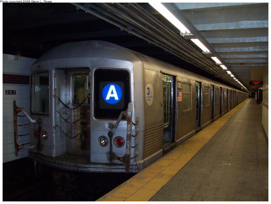 (190k, 1044x788)<br><b>Country:</b> United States<br><b>City:</b> New York<br><b>System:</b> New York City Transit<br><b>Line:</b> IND 8th Avenue Line<br><b>Location:</b> 207th Street <br><b>Route:</b> A<br><b>Car:</b> R-42 (St. Louis, 1969-1970)  4780 <br><b>Photo by:</b> Glenn L. Rowe<br><b>Date:</b> 11/7/2008<br><b>Viewed (this week/total):</b> 0 / 1259