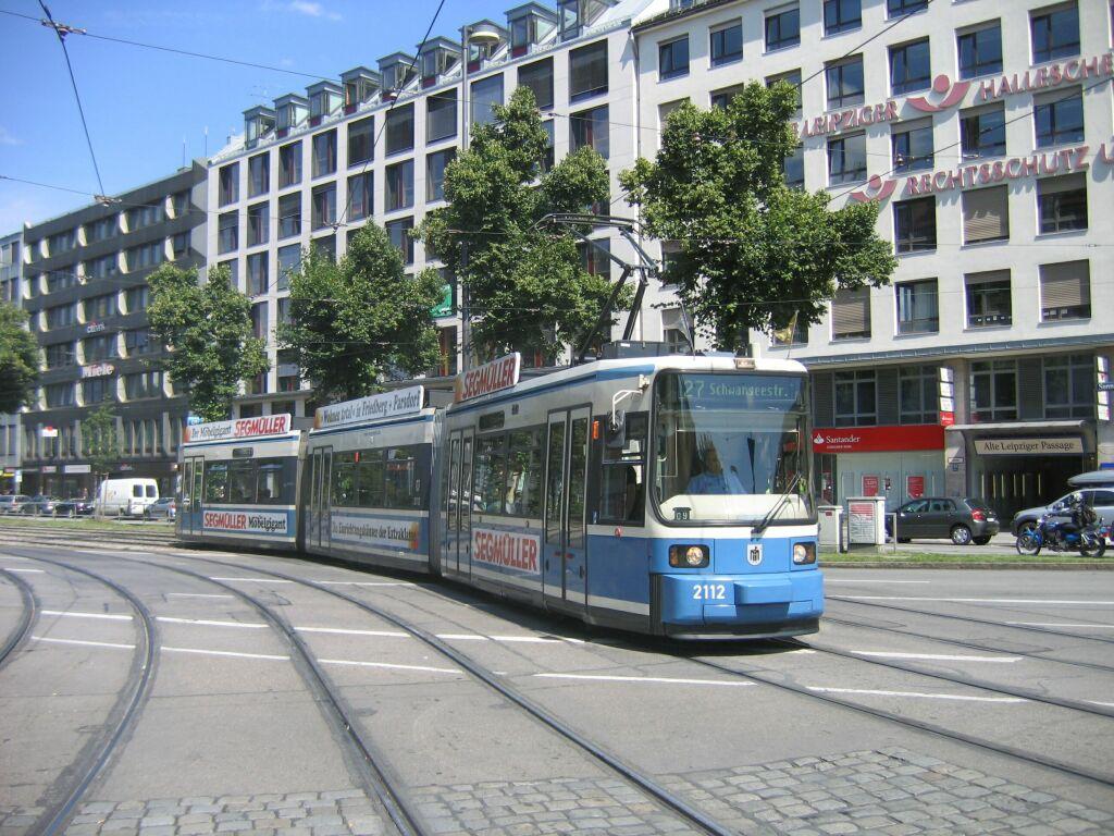 (171k, 1024x768)<br><b>Country:</b> Germany<br><b>City:</b> Munich<br><b>System:</b> MVG (Munchener Verkehrsgesellschaft)<br><b>Location:</b> Sendlinger Tor <br><b>Route:</b> 27<br><b>Car:</b> Siemens GT6N R2.2  2112 <br><b>Photo by:</b> Jos Straathof<br><b>Date:</b> 8/14/2008<br><b>Viewed (this week/total):</b> 0 / 422