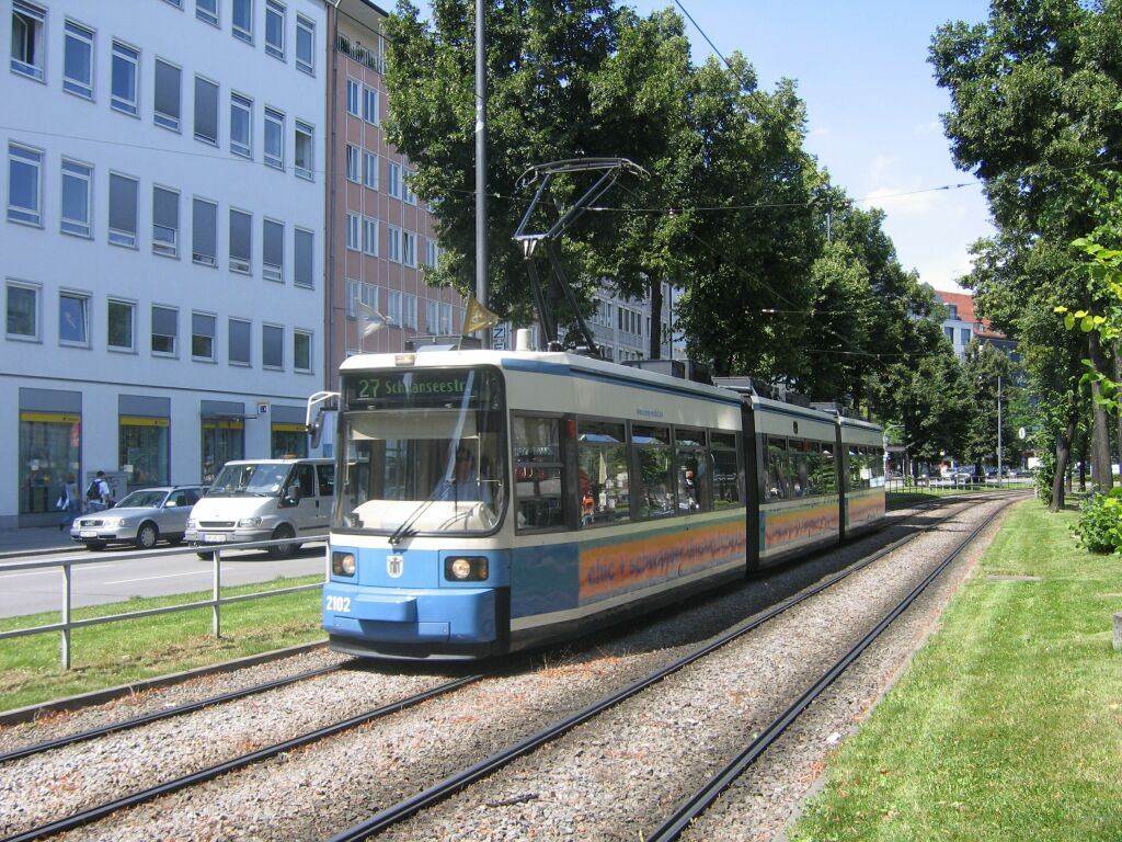 (216k, 1024x768)<br><b>Country:</b> Germany<br><b>City:</b> Munich<br><b>System:</b> MVG (Munchener Verkehrsgesellschaft)<br><b>Location:</b> Sonnenstrasse <br><b>Route:</b> 27<br><b>Car:</b> Siemens GT6N R2.2  2102 <br><b>Photo by:</b> Jos Straathof<br><b>Date:</b> 8/14/2008<br><b>Viewed (this week/total):</b> 0 / 431