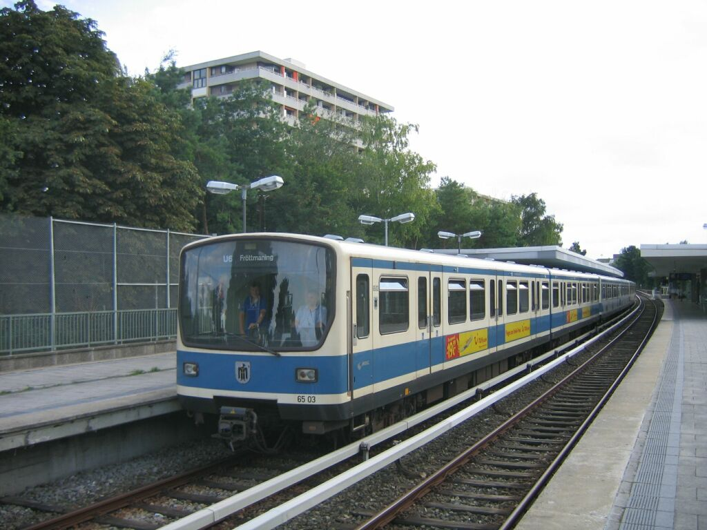 (122k, 1024x768)<br><b>Country:</b> Germany<br><b>City:</b> Munich<br><b>System:</b> München Verkehrsgesellschaft (MVG) <br><b>Line:</b> Munich U-Bahn U6<br><b>Location:</b> Kieferngarten <br><b>Route:</b> U6<br><b>Car:</b>  6503 <br><b>Photo by:</b> Jos Straathof<br><b>Date:</b> 8/14/2008<br><b>Viewed (this week/total):</b> 0 / 648