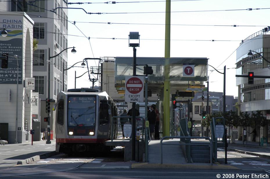 (198k, 930x618)<br><b>Country:</b> United States<br><b>City:</b> San Francisco/Bay Area, CA<br><b>System:</b> SF MUNI<br><b>Line:</b> MUNI 3rd Street Light Rail<br><b>Location:</b> <b><u>Caltrain/4th & King</u></b> <br><b>Car:</b> SF MUNI Breda LRV 1410 <br><b>Photo by:</b> Peter Ehrlich<br><b>Date:</b> 11/9/2008<br><b>Notes:</b> 4th/King Station outbound.<br><b>Viewed (this week/total):</b> 1 / 469