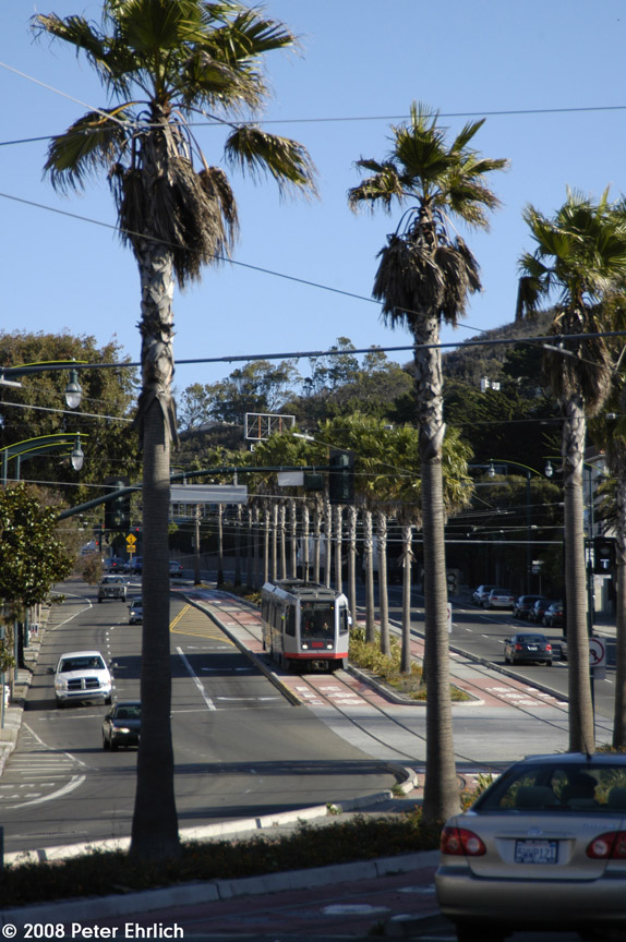 (211k, 574x864)<br><b>Country:</b> United States<br><b>City:</b> San Francisco/Bay Area, CA<br><b>System:</b> SF MUNI<br><b>Line:</b> MUNI 3rd Street Light Rail<br><b>Location:</b> Bayshore Blvd./Tunnel Ave. <br><b>Car:</b> SF MUNI Breda LRV 1476 <br><b>Photo by:</b> Peter Ehrlich<br><b>Date:</b> 11/9/2008<br><b>Notes:</b> Bayshore/Tunnel Avenue, inbound.<br><b>Viewed (this week/total):</b> 0 / 523