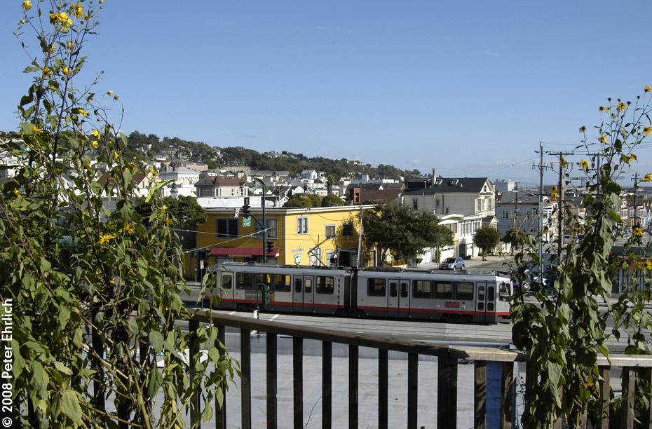 (261k, 930x612)<br><b>Country:</b> United States<br><b>City:</b> San Francisco/Bay Area, CA<br><b>System:</b> SF MUNI<br><b>Line:</b> MUNI 3rd Street Light Rail<br><b>Location:</b> 3rd Street/Thornton/Thomas <br><b>Car:</b> SF MUNI Breda LRV 1485 <br><b>Photo by:</b> Peter Ehrlich<br><b>Date:</b> 11/9/2008<br><b>Notes:</b> 3rd/Thornton/Thomas, outbound.<br><b>Viewed (this week/total):</b> 0 / 533