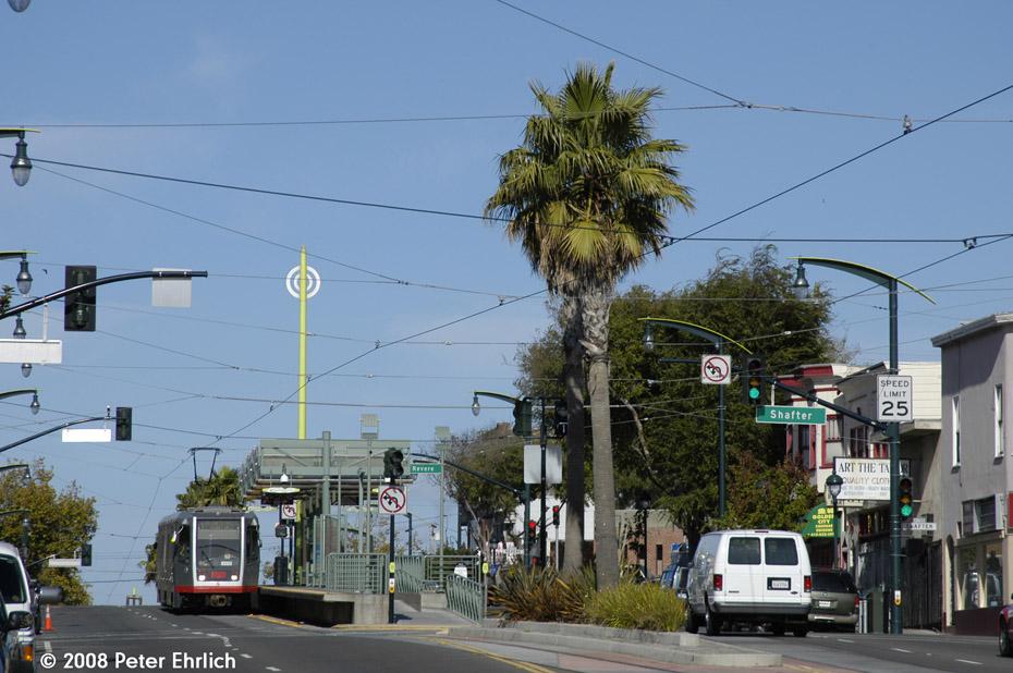 (201k, 930x618)<br><b>Country:</b> United States<br><b>City:</b> San Francisco/Bay Area, CA<br><b>System:</b> SF MUNI<br><b>Line:</b> MUNI 3rd Street Light Rail<br><b>Location:</b> <b><u>Revere Ave./Shafter Ave.</u></b> <br><b>Car:</b> SF MUNI Breda LRV 1490 <br><b>Photo by:</b> Peter Ehrlich<br><b>Date:</b> 11/9/2008<br><b>Notes:</b> Revere Station, inbound. View from 3rd/Thornton.<br><b>Viewed (this week/total):</b> 0 / 632