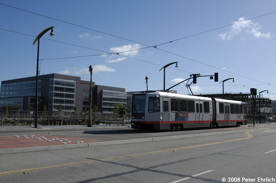 (158k, 930x618)<br><b>Country:</b> United States<br><b>City:</b> San Francisco/Bay Area, CA<br><b>System:</b> SF MUNI<br><b>Line:</b> MUNI 3rd Street Light Rail<br><b>Location:</b> <b><u>UCSF/Mission Bay</u></b> <br><b>Car:</b> SF MUNI Breda LRV 1520 <br><b>Photo by:</b> Peter Ehrlich<br><b>Date:</b> 11/9/2008<br><b>Notes:</b> 3rd Street/Mission Bay Blvd., outbound.<br><b>Viewed (this week/total):</b> 0 / 455