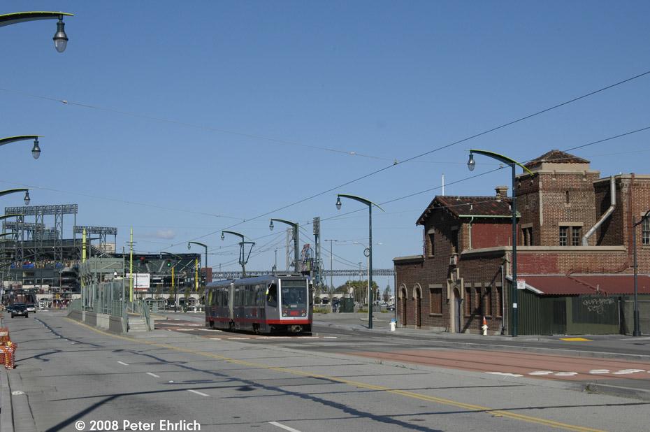 (167k, 930x618)<br><b>Country:</b> United States<br><b>City:</b> San Francisco/Bay Area, CA<br><b>System:</b> SF MUNI<br><b>Line:</b> MUNI 3rd Street Light Rail<br><b>Location:</b> <b><u>Mission Rock St.</u></b> <br><b>Car:</b> SF MUNI Breda LRV 1520 <br><b>Photo by:</b> Peter Ehrlich<br><b>Date:</b> 11/9/2008<br><b>Notes:</b> Passing Mission Rock inbound station, outbound.<br><b>Viewed (this week/total):</b> 0 / 578