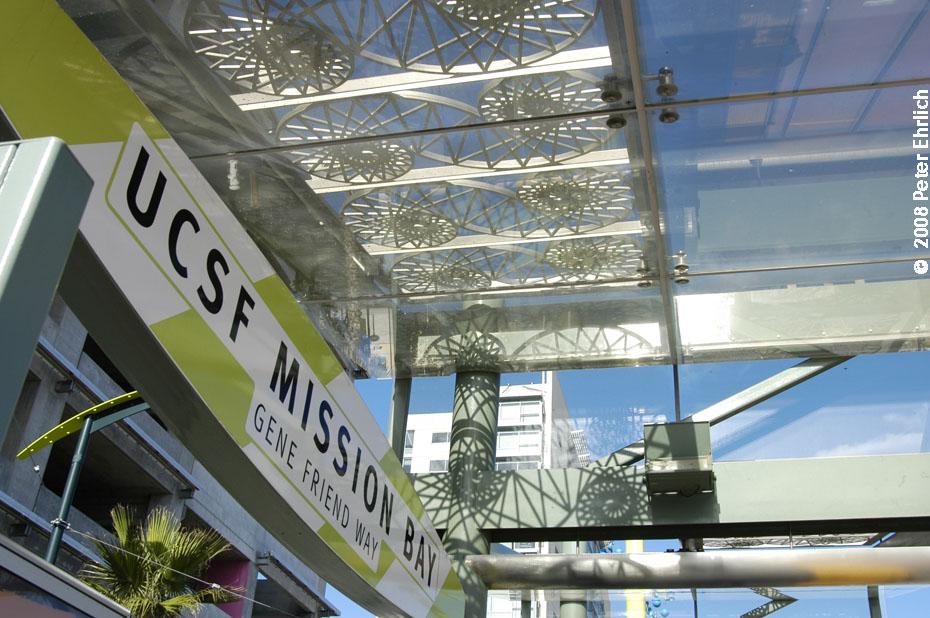 (185k, 930x618)<br><b>Country:</b> United States<br><b>City:</b> San Francisco/Bay Area, CA<br><b>System:</b> SF MUNI<br><b>Line:</b> MUNI 3rd Street Light Rail<br><b>Location:</b> <b><u>UCSF/Mission Bay</u></b> <br><b>Photo by:</b> Peter Ehrlich<br><b>Date:</b> 11/9/2008<br><b>Notes:</b> Artwork, UCSF/Mission Bay Station.<br><b>Viewed (this week/total):</b> 0 / 434