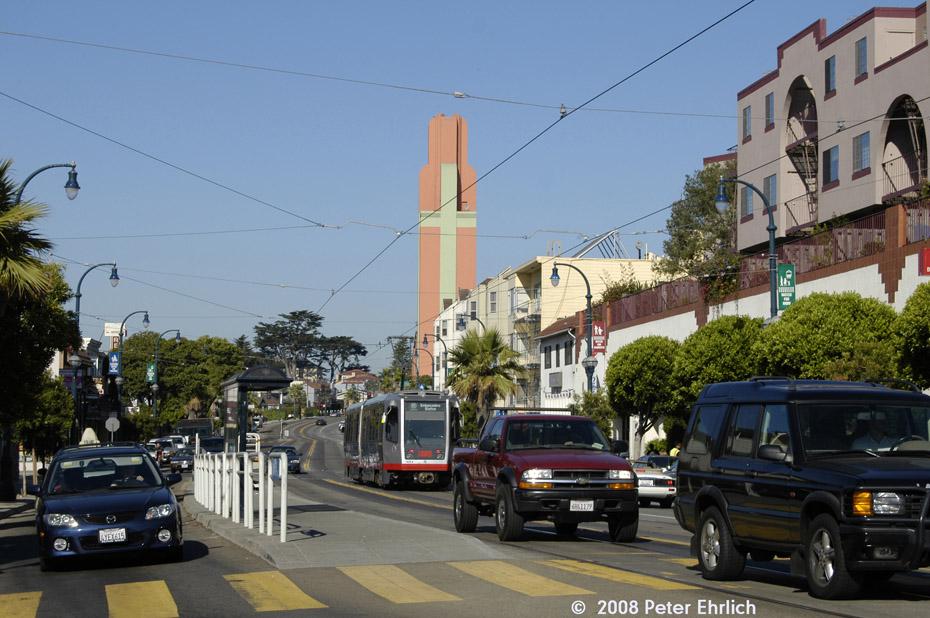 (212k, 930x618)<br><b>Country:</b> United States<br><b>City:</b> San Francisco/Bay Area, CA<br><b>System:</b> SF MUNI<br><b>Line:</b> MUNI Metro (K/M)<br><b>Location:</b> Ocean/Ashton <br><b>Car:</b> SF MUNI Breda LRV 1439 <br><b>Photo by:</b> Peter Ehrlich<br><b>Date:</b> 10/15/2008<br><b>Notes:</b> Ocean/Ashton inbound, trailing view.<br><b>Viewed (this week/total):</b> 0 / 617
