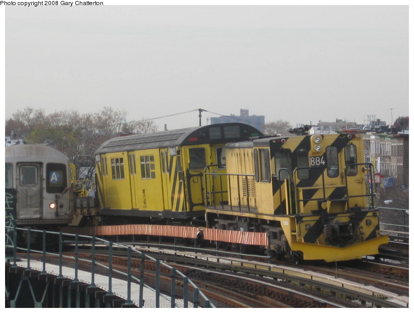 (117k, 820x620)<br><b>Country:</b> United States<br><b>City:</b> New York<br><b>System:</b> New York City Transit<br><b>Line:</b> IND Fulton Street Line<br><b>Location:</b> 80th Street/Hudson Street <br><b>Route:</b> Work Service<br><b>Car:</b> R-77 Locomotive  884 <br><b>Photo by:</b> Gary Chatterton<br><b>Date:</b> 11/12/2008<br><b>Viewed (this week/total):</b> 0 / 1414