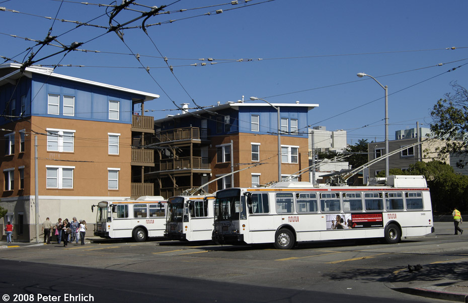 (205k, 930x603)<br><b>Country:</b> United States<br><b>City:</b> San Francisco/Bay Area, CA<br><b>System:</b> SF MUNI<br><b>Line:</b> SF MUNI Trolley Coach Routes<br><b>Car:</b> SF MUNI Trolley Coach (ETI 14Tr-SF 40ft., 2001-03) 5505 <br><b>Photo by:</b> Peter Ehrlich<br><b>Date:</b> 10/14/2008<br><b>Notes:</b> Ocean Beach terminal, lines 5/31.<br><b>Viewed (this week/total):</b> 1 / 736