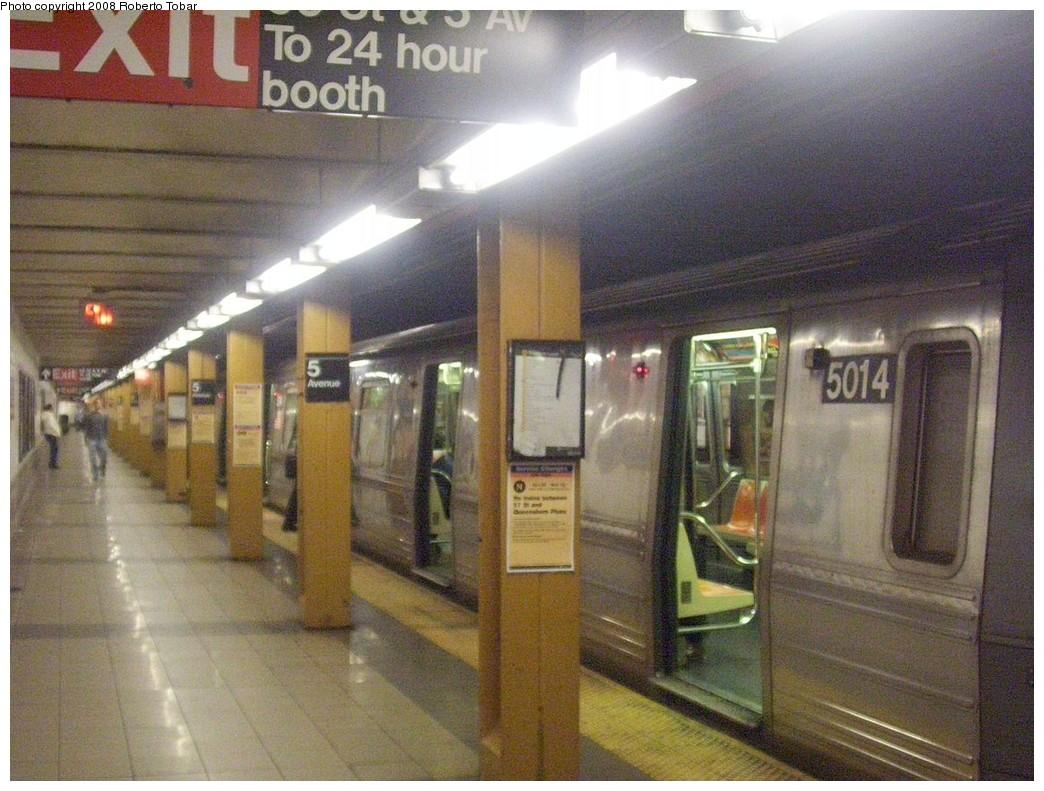 (237k, 1044x791)<br><b>Country:</b> United States<br><b>City:</b> New York<br><b>System:</b> New York City Transit<br><b>Line:</b> BMT Broadway Line<br><b>Location:</b> 5th Avenue <br><b>Route:</b> N<br><b>Car:</b> R-68A (Kawasaki, 1988-1989)  5014 <br><b>Photo by:</b> Roberto C. Tobar<br><b>Date:</b> 11/7/2008<br><b>Viewed (this week/total):</b> 2 / 2821