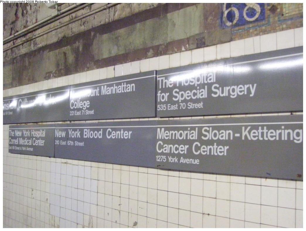 (191k, 1044x791)<br><b>Country:</b> United States<br><b>City:</b> New York<br><b>System:</b> New York City Transit<br><b>Line:</b> IRT East Side Line<br><b>Location:</b> 68th Street <br><b>Photo by:</b> Roberto C. Tobar<br><b>Date:</b> 11/7/2008<br><b>Viewed (this week/total):</b> 0 / 1741