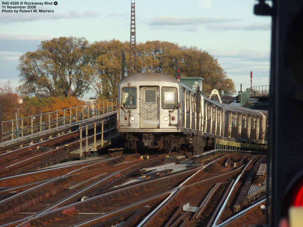 (243k, 1024x768)<br><b>Country:</b> United States<br><b>City:</b> New York<br><b>System:</b> New York City Transit<br><b>Line:</b> IND Fulton Street Line<br><b>Location:</b> Rockaway Boulevard <br><b>Route:</b> A<br><b>Car:</b> R-40M (St. Louis, 1969)  4526 <br><b>Photo by:</b> Robert Marrero<br><b>Date:</b> 11/11/2008<br><b>Viewed (this week/total):</b> 0 / 1750