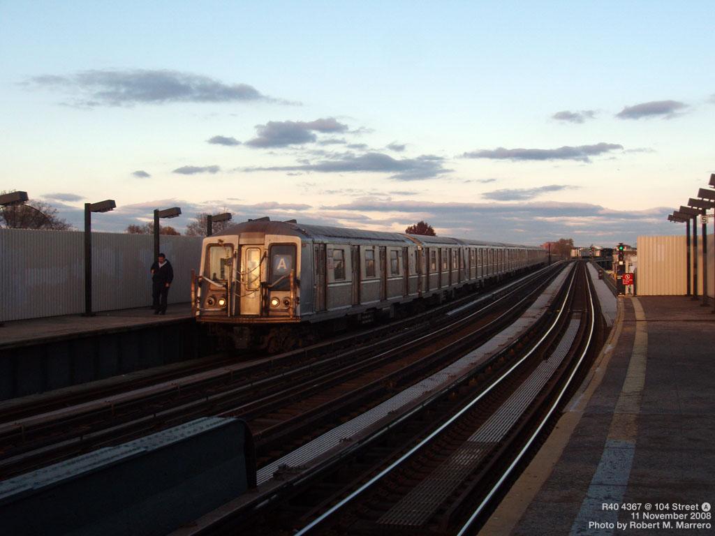 (152k, 1024x768)<br><b>Country:</b> United States<br><b>City:</b> New York<br><b>System:</b> New York City Transit<br><b>Line:</b> IND Fulton Street Line<br><b>Location:</b> Rockaway Boulevard <br><b>Route:</b> A<br><b>Car:</b> R-160A-1 (Alstom, 2005-2008, 4 car sets)  4367 <br><b>Photo by:</b> Robert Marrero<br><b>Date:</b> 11/11/2008<br><b>Viewed (this week/total):</b> 1 / 1902