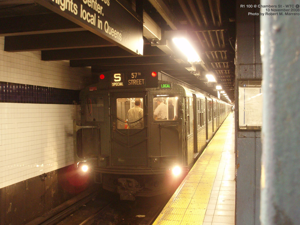 (188k, 1024x768)<br><b>Country:</b> United States<br><b>City:</b> New York<br><b>System:</b> New York City Transit<br><b>Line:</b> IND 8th Avenue Line<br><b>Location:</b> Chambers Street/World Trade Center <br><b>Route:</b> Fan Trip<br><b>Car:</b> R-1 (American Car & Foundry, 1930-1931) 100 <br><b>Photo by:</b> Robert Marrero<br><b>Date:</b> 11/13/2008<br><b>Viewed (this week/total):</b> 1 / 1610
