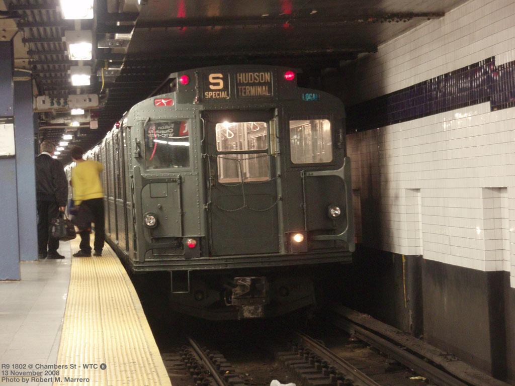 (184k, 1024x768)<br><b>Country:</b> United States<br><b>City:</b> New York<br><b>System:</b> New York City Transit<br><b>Line:</b> IND 8th Avenue Line<br><b>Location:</b> Chambers Street/World Trade Center <br><b>Route:</b> Fan Trip<br><b>Car:</b> R-9 (Pressed Steel, 1940)  1802 <br><b>Photo by:</b> Robert Marrero<br><b>Date:</b> 11/13/2008<br><b>Viewed (this week/total):</b> 2 / 1793
