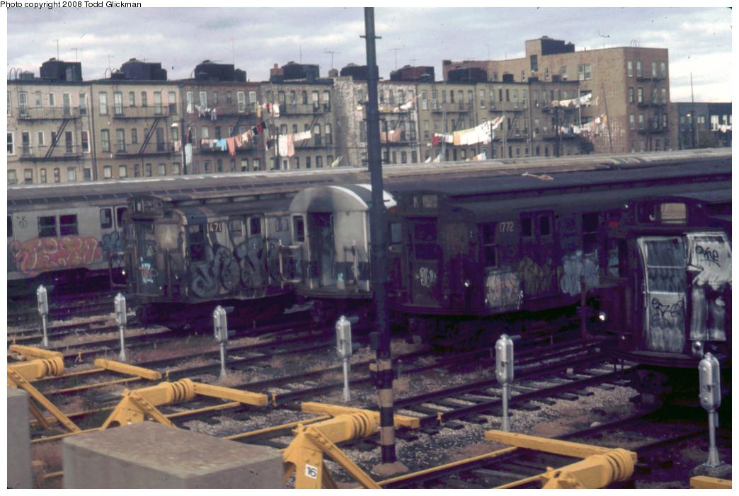 (261k, 1044x701)<br><b>Country:</b> United States<br><b>City:</b> New York<br><b>System:</b> New York City Transit<br><b>Location:</b> Fresh Pond Yard<br><b>Car:</b> R-9 (Pressed Steel, 1940)  1772 <br><b>Photo by:</b> Todd Glickman<br><b>Notes:</b> Circa 1974-1975<br><b>Viewed (this week/total):</b> 0 / 3143