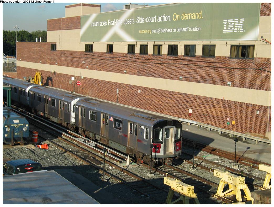 (364k, 1044x788)<br><b>Country:</b> United States<br><b>City:</b> New York<br><b>System:</b> New York City Transit<br><b>Location:</b> Corona Yard<br><b>Car:</b> R-142A (Option Order, Kawasaki, 2002-2003) 7695 <br><b>Photo by:</b> Michael Pompili<br><b>Date:</b> 10/20/2003<br><b>Viewed (this week/total):</b> 0 / 2025