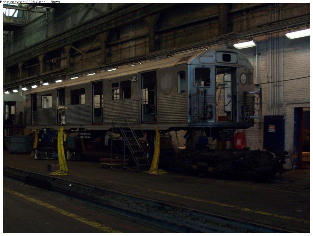 (182k, 1044x788)<br><b>Country:</b> United States<br><b>City:</b> New York<br><b>System:</b> New York City Transit<br><b>Location:</b> 207th Street Shop<br><b>Car:</b> R-38 (St. Louis, 1966-1967)  4057 <br><b>Photo by:</b> Glenn L. Rowe<br><b>Date:</b> 11/21/2008<br><b>Notes:</b> Stripped for reefing.<br><b>Viewed (this week/total):</b> 0 / 1411
