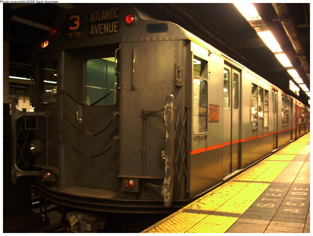(237k, 1044x788)<br><b>Country:</b> United States<br><b>City:</b> New York<br><b>System:</b> New York City Transit<br><b>Line:</b> IRT East Side Line<br><b>Location:</b> Grand Central <br><b>Route:</b> NT<br><b>Car:</b> R-12 (American Car & Foundry, 1948) 5760 <br><b>Photo by:</b> Zach Summer<br><b>Date:</b> 8/2/2008<br><b>Viewed (this week/total):</b> 1 / 1262