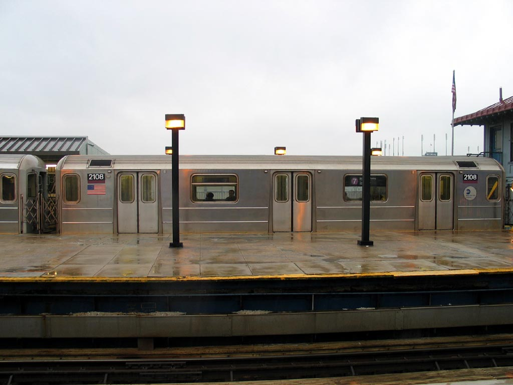 (98k, 1024x768)<br><b>Country:</b> United States<br><b>City:</b> New York<br><b>System:</b> New York City Transit<br><b>Line:</b> IRT Flushing Line<br><b>Location:</b> Willets Point/Mets (fmr. Shea Stadium) <br><b>Route:</b> 7<br><b>Car:</b> R-62A (Bombardier, 1984-1987)  2108 <br><b>Photo by:</b> Michael Pompili<br><b>Date:</b> 12/17/2003<br><b>Viewed (this week/total):</b> 1 / 1115