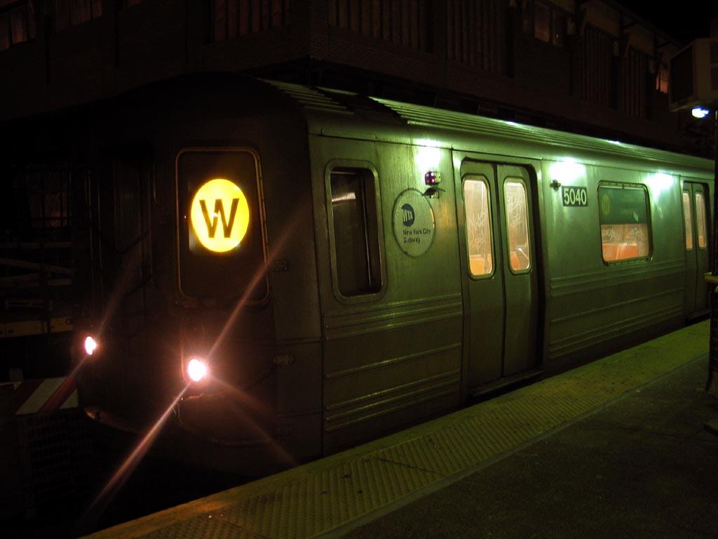 (83k, 1024x768)<br><b>Country:</b> United States<br><b>City:</b> New York<br><b>System:</b> New York City Transit<br><b>Location:</b> Coney Island/Stillwell Avenue<br><b>Route:</b> W<br><b>Car:</b> R-68A (Kawasaki, 1988-1989)  5040 <br><b>Photo by:</b> Michael Pompili<br><b>Date:</b> 2/21/2004<br><b>Viewed (this week/total):</b> 1 / 1903