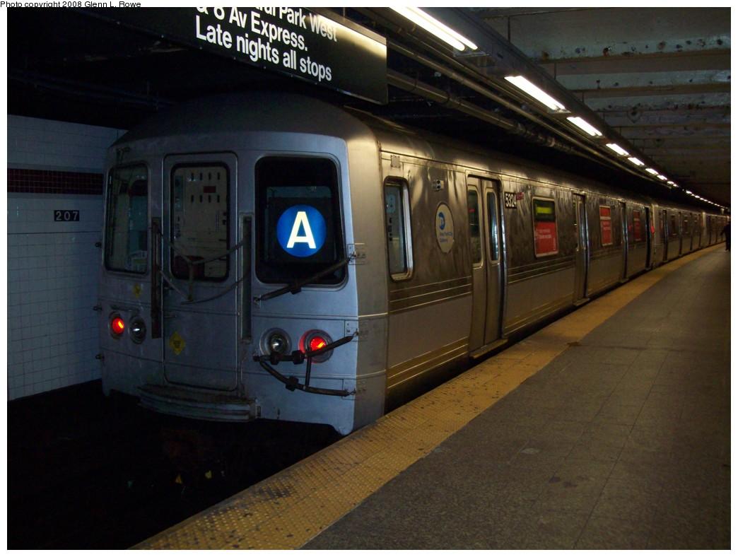 (187k, 1044x788)<br><b>Country:</b> United States<br><b>City:</b> New York<br><b>System:</b> New York City Transit<br><b>Line:</b> IND 8th Avenue Line<br><b>Location:</b> 207th Street <br><b>Route:</b> A<br><b>Car:</b> R-44 (St. Louis, 1971-73) 5324 <br><b>Photo by:</b> Glenn L. Rowe<br><b>Date:</b> 12/3/2008<br><b>Notes:</b> Coca-Cola ad wrap.<br><b>Viewed (this week/total):</b> 1 / 2576