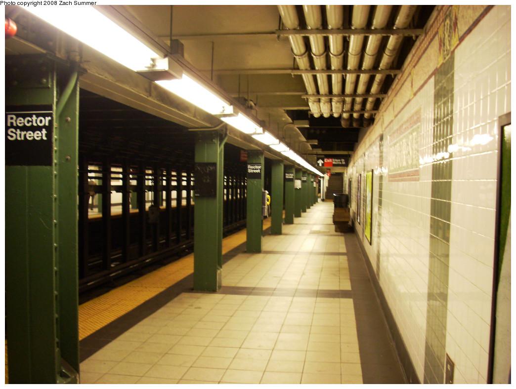 (247k, 1044x788)<br><b>Country:</b> United States<br><b>City:</b> New York<br><b>System:</b> New York City Transit<br><b>Line:</b> IRT West Side Line<br><b>Location:</b> Rector Street<br><b>Photo by:</b> Zach Summer<br><b>Date:</b> 8/5/2008<br><b>Notes:</b> Station view.<br><b>Viewed (this week/total):</b> 0 / 2181
