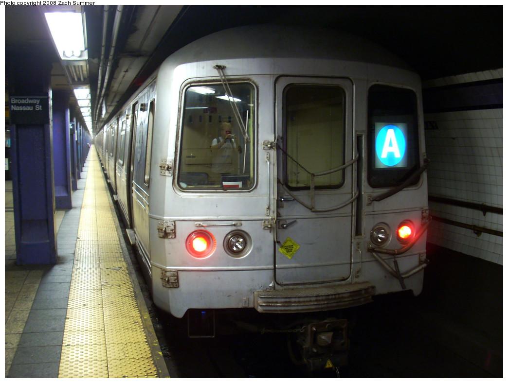 (229k, 1044x788)<br><b>Country:</b> United States<br><b>City:</b> New York<br><b>System:</b> New York City Transit<br><b>Line:</b> IND 8th Avenue Line<br><b>Location:</b> Fulton Street (Broadway/Nassau) <br><b>Route:</b> A<br><b>Car:</b> R-44 (St. Louis, 1971-73)  <br><b>Photo by:</b> Zach Summer<br><b>Date:</b> 8/6/2008<br><b>Viewed (this week/total):</b> 0 / 2318