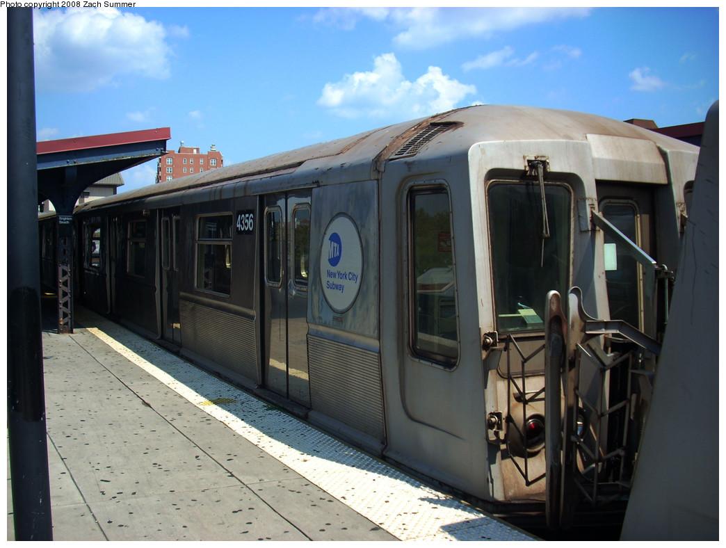 (237k, 1044x788)<br><b>Country:</b> United States<br><b>City:</b> New York<br><b>System:</b> New York City Transit<br><b>Line:</b> BMT Brighton Line<br><b>Location:</b> Brighton Beach <br><b>Route:</b> B<br><b>Car:</b> R-40 (St. Louis, 1968)  4356 <br><b>Photo by:</b> Zach Summer<br><b>Date:</b> 8/6/2008<br><b>Viewed (this week/total):</b> 0 / 981